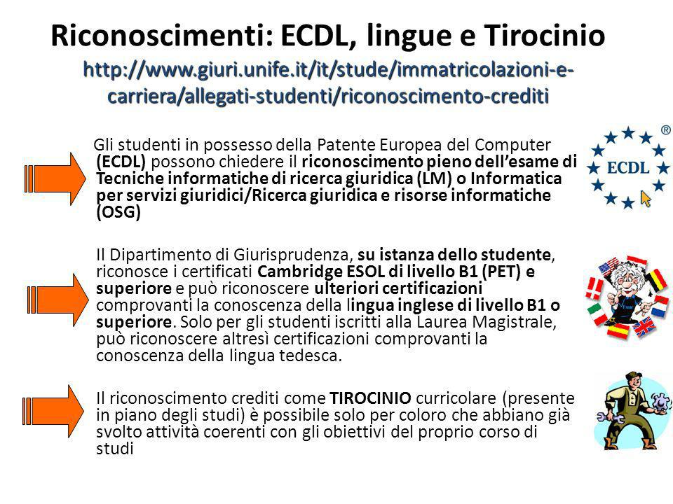 http://www.giuri.unife.it/it/stude/immatricolazioni-e- carriera/allegati-studenti/riconoscimento-crediti Riconoscimenti: ECDL, lingue e Tirocinio http
