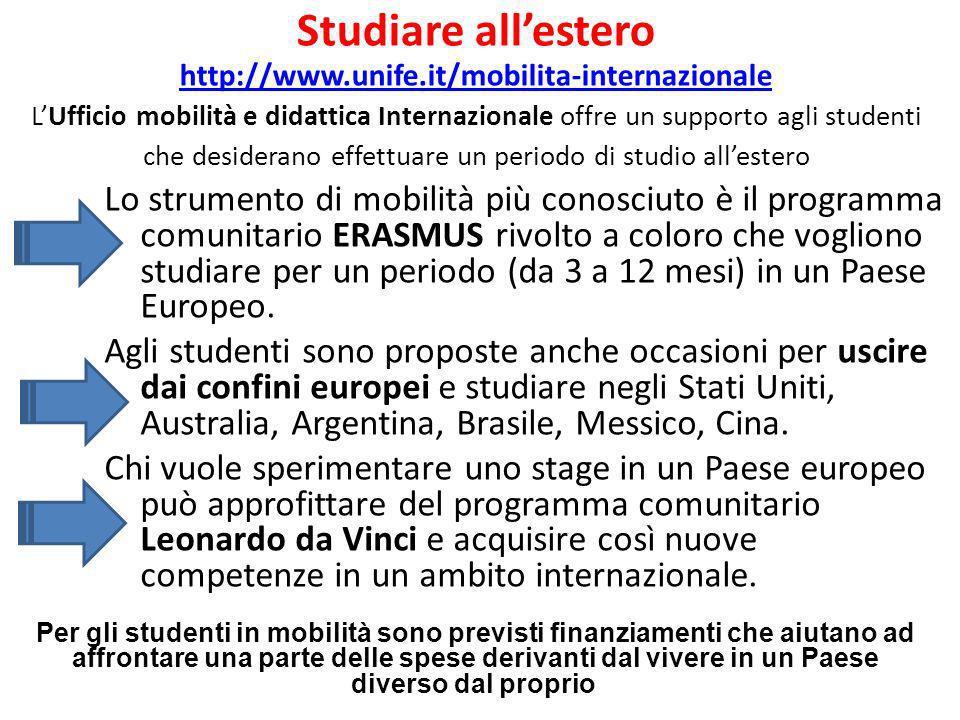 Studiare allestero http://www.unife.it/mobilita-internazionale LUfficio mobilità e didattica Internazionale offre un supporto agli studenti che deside
