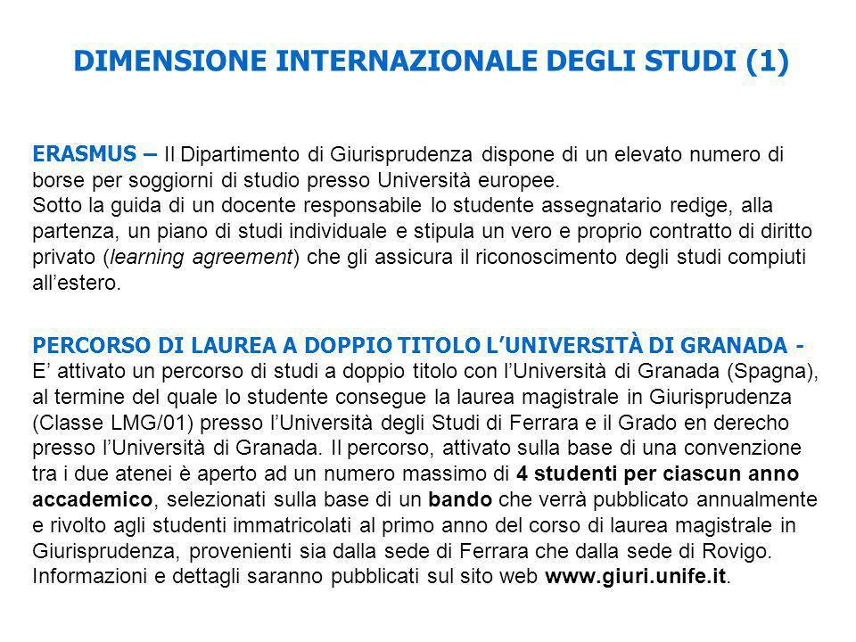 DIMENSIONE INTERNAZIONALE DEGLI STUDI (1) ERASMUS – Il Dipartimento di Giurisprudenza dispone di un elevato numero di borse per soggiorni di studio pr