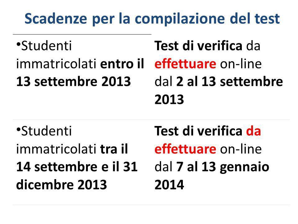 Scadenze per la compilazione del test Studenti immatricolati entro il 13 settembre 2013 Test di verifica da effettuare on-line dal 2 al 13 settembre 2