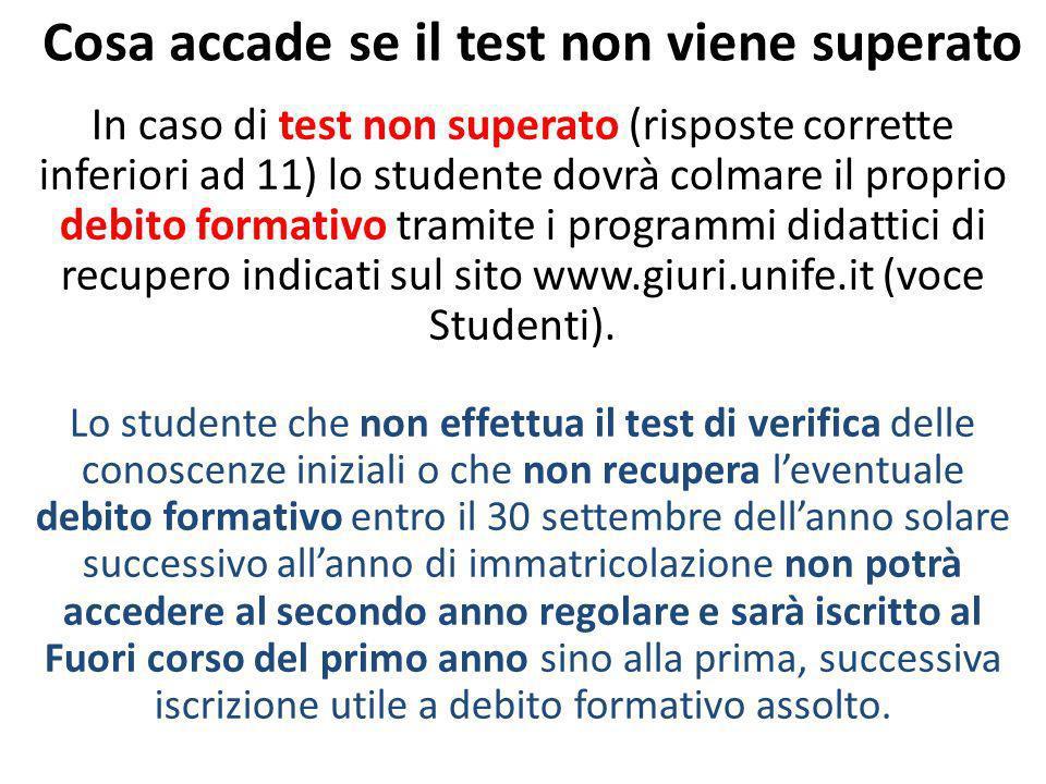 Cosa accade se il test non viene superato In caso di test non superato (risposte corrette inferiori ad 11) lo studente dovrà colmare il proprio debito