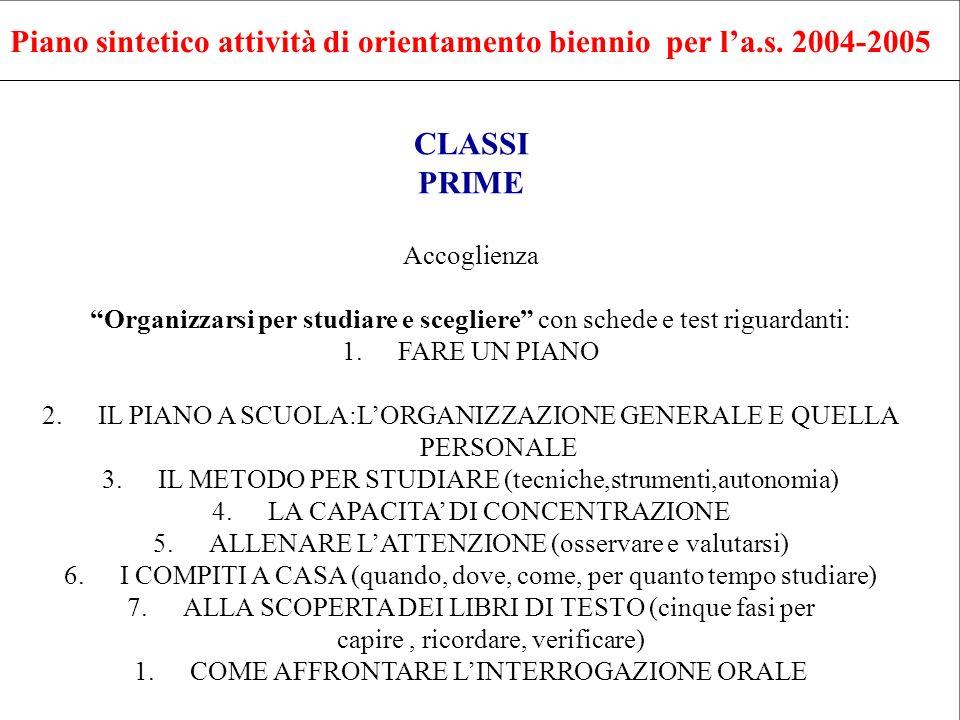Piano sintetico attività di orientamento biennio per la.s. 2004-2005 CLASSI PRIME Accoglienza Organizzarsi per studiare e scegliere con schede e test