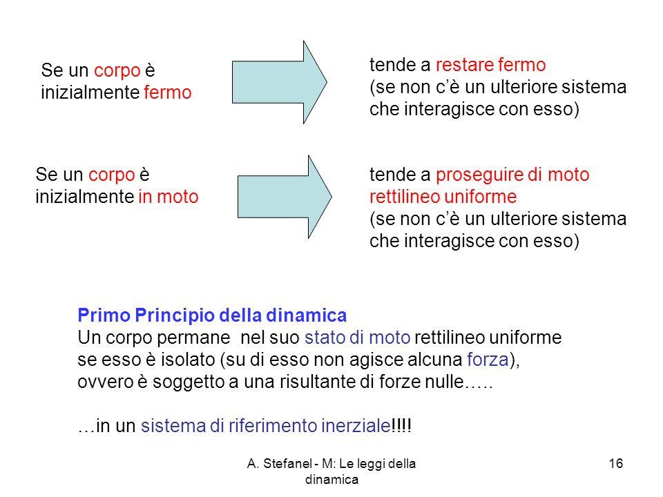 A. Stefanel - M: Le leggi della dinamica 16 Se un corpo è inizialmente in moto Se un corpo è inizialmente fermo tende a restare fermo (se non cè un ul