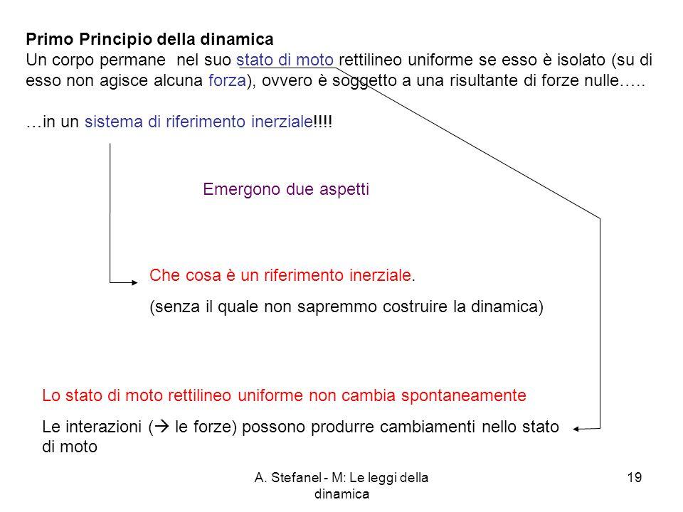 A. Stefanel - M: Le leggi della dinamica 19 Primo Principio della dinamica Un corpo permane nel suo stato di moto rettilineo uniforme se esso è isolat