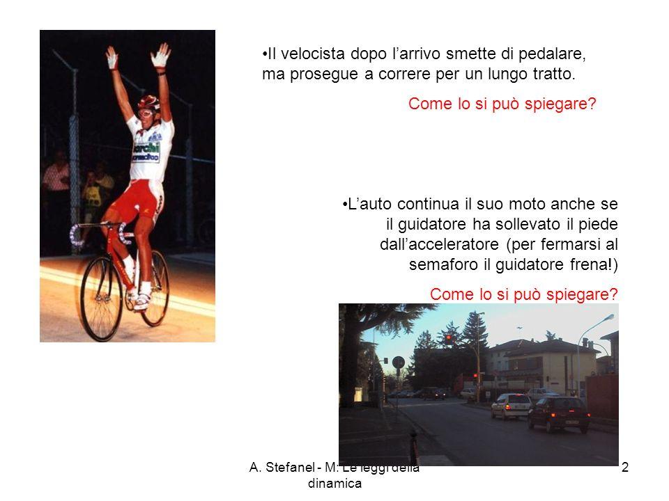 A. Stefanel - M: Le leggi della dinamica 2 Il velocista dopo larrivo smette di pedalare, ma prosegue a correre per un lungo tratto. Come lo si può spi