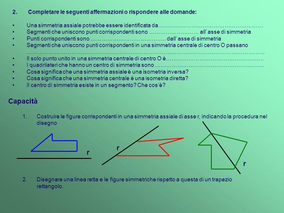 3.Le seguenti figure sono stare ottenute una dallaltra attraverso luso di una simmetria assiale.