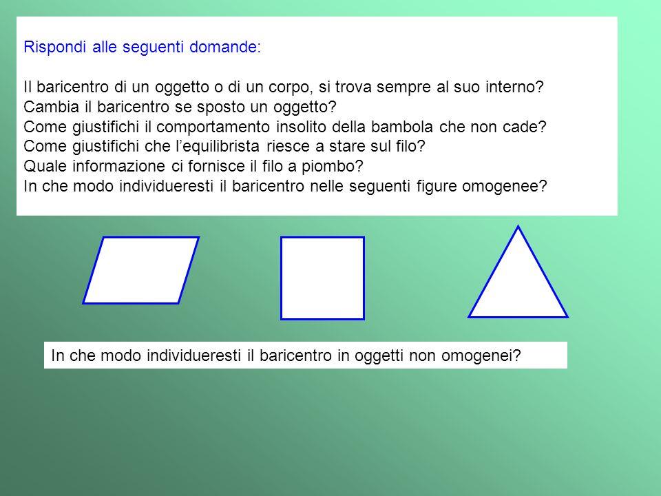 Rispondi alle seguenti domande: Il baricentro di un oggetto o di un corpo, si trova sempre al suo interno? Cambia il baricentro se sposto un oggetto?