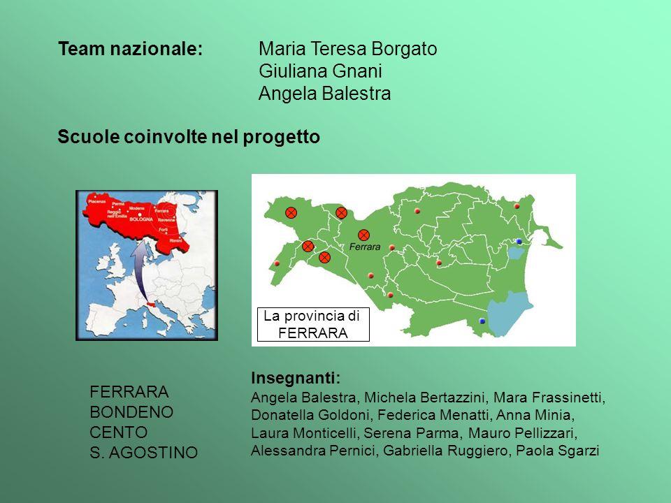 Scuole coinvolte nel progetto La provincia di FERRARA BONDENO CENTO S. AGOSTINO Insegnanti: Angela Balestra, Michela Bertazzini, Mara Frassinetti, Don
