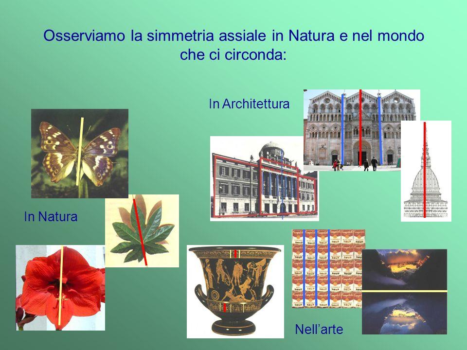 Osserviamo la simmetria assiale in Natura e nel mondo che ci circonda: In Natura In Architettura N ell a rt e