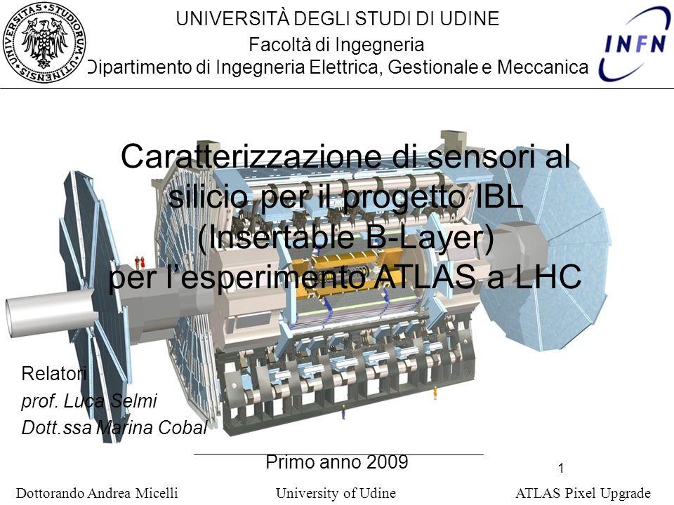 1 Dottorando Andrea Micelli University of Udine ATLAS Pixel Upgrade UNIVERSITÀ DEGLI STUDI DI UDINE Facoltà di Ingegneria Dipartimento di Ingegneria Elettrica, Gestionale e Meccanica Primo anno 2009 Relatori prof.
