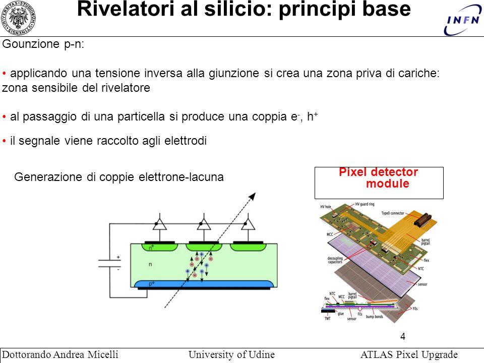 4 Dottorando Andrea Micelli University of Udine ATLAS Pixel Upgrade Rivelatori al silicio: principi base Pixel detector module Gounzione p-n: applicando una tensione inversa alla giunzione si crea una zona priva di cariche: zona sensibile del rivelatore al passaggio di una particella si produce una coppia e -, h + il segnale viene raccolto agli elettrodi Generazione di coppie elettrone-lacuna