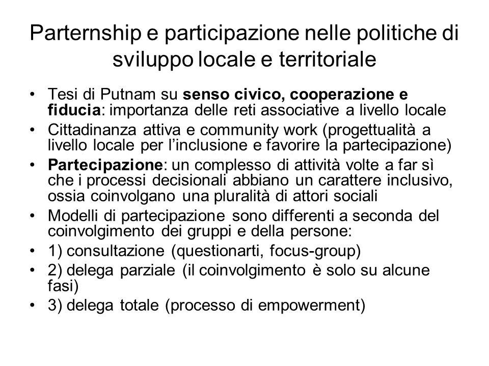 Parternship e participazione nelle politiche di sviluppo locale e territoriale Tesi di Putnam su senso civico, cooperazione e fiducia: importanza dell