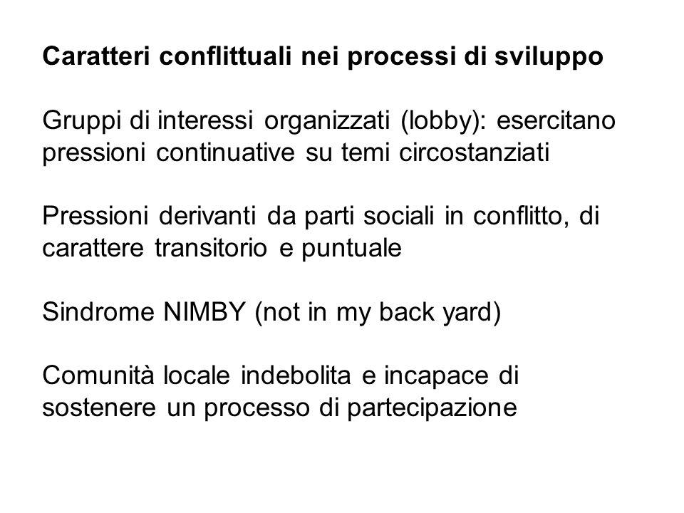 Caratteri conflittuali nei processi di sviluppo Gruppi di interessi organizzati (lobby): esercitano pressioni continuative su temi circostanziati Pres
