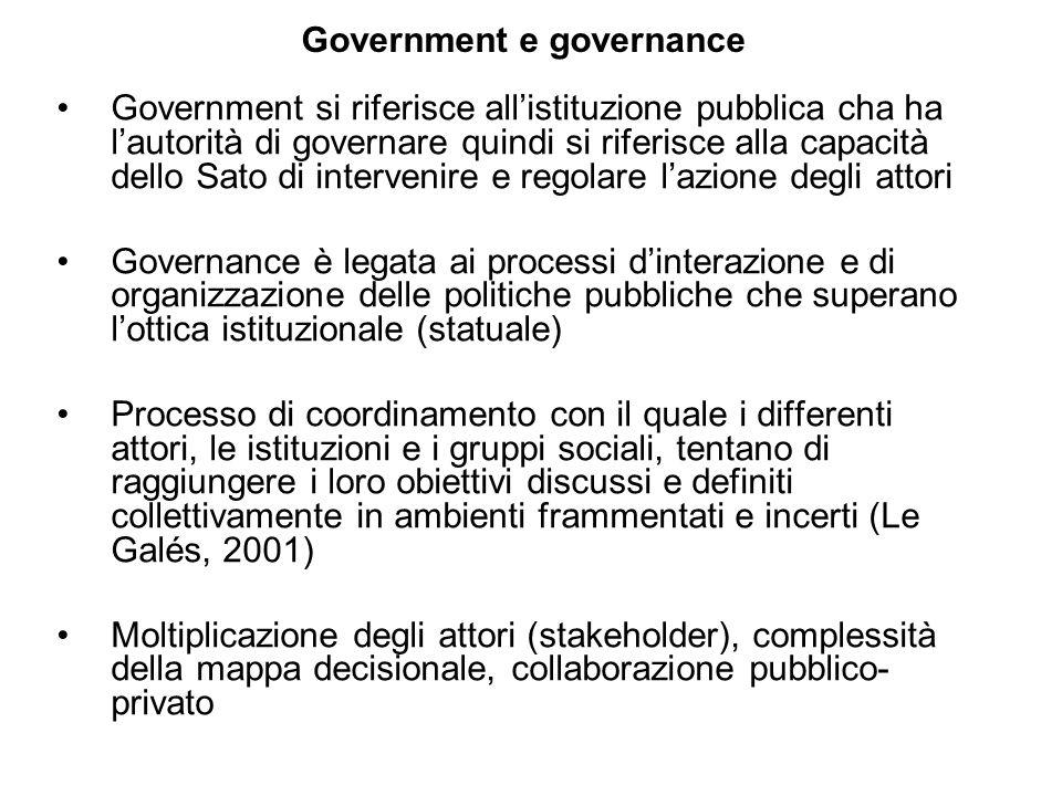 Government e governance Government si riferisce allistituzione pubblica cha ha lautorità di governare quindi si riferisce alla capacità dello Sato di