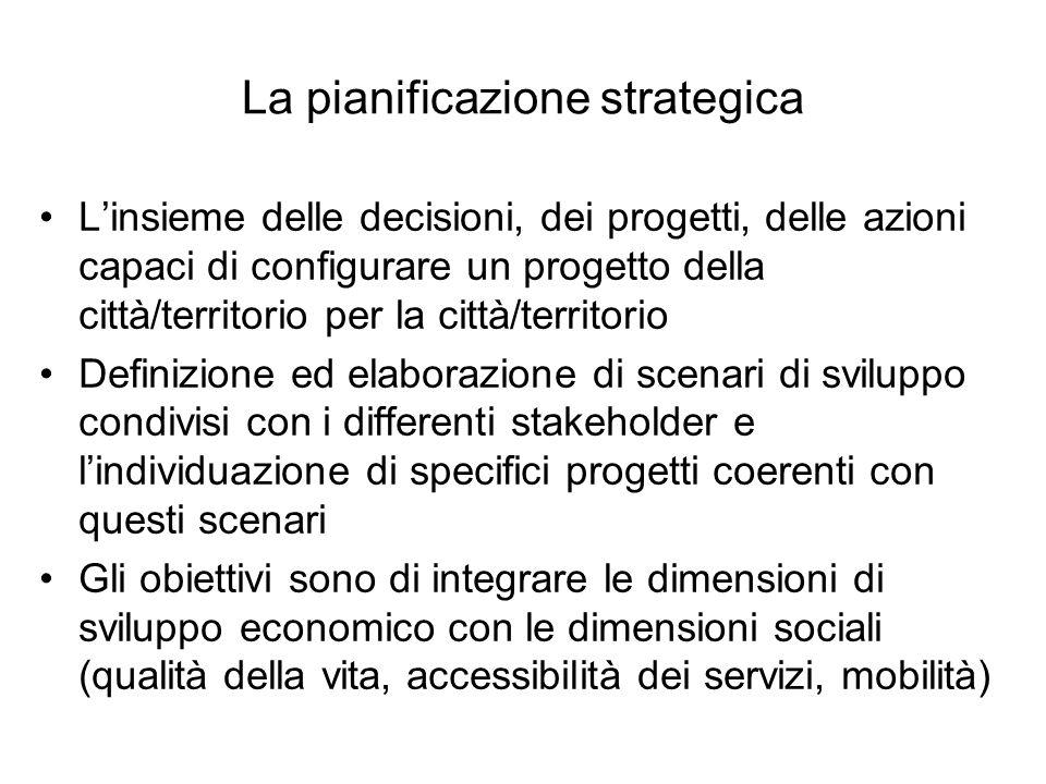 La pianificazione strategica Linsieme delle decisioni, dei progetti, delle azioni capaci di configurare un progetto della città/territorio per la citt