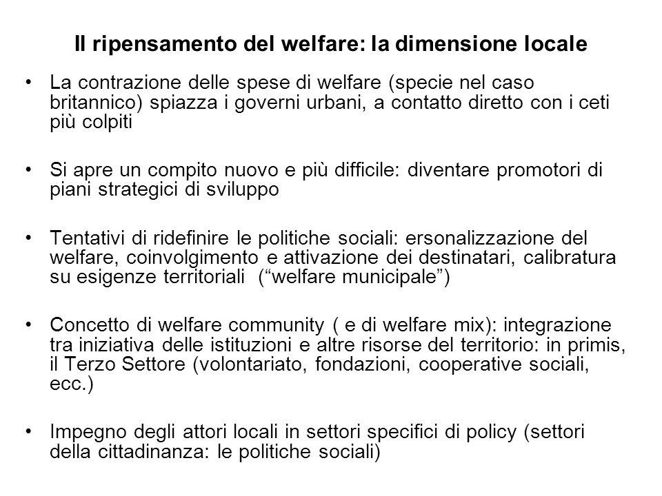 Il ripensamento del welfare: la dimensione locale La contrazione delle spese di welfare (specie nel caso britannico) spiazza i governi urbani, a conta