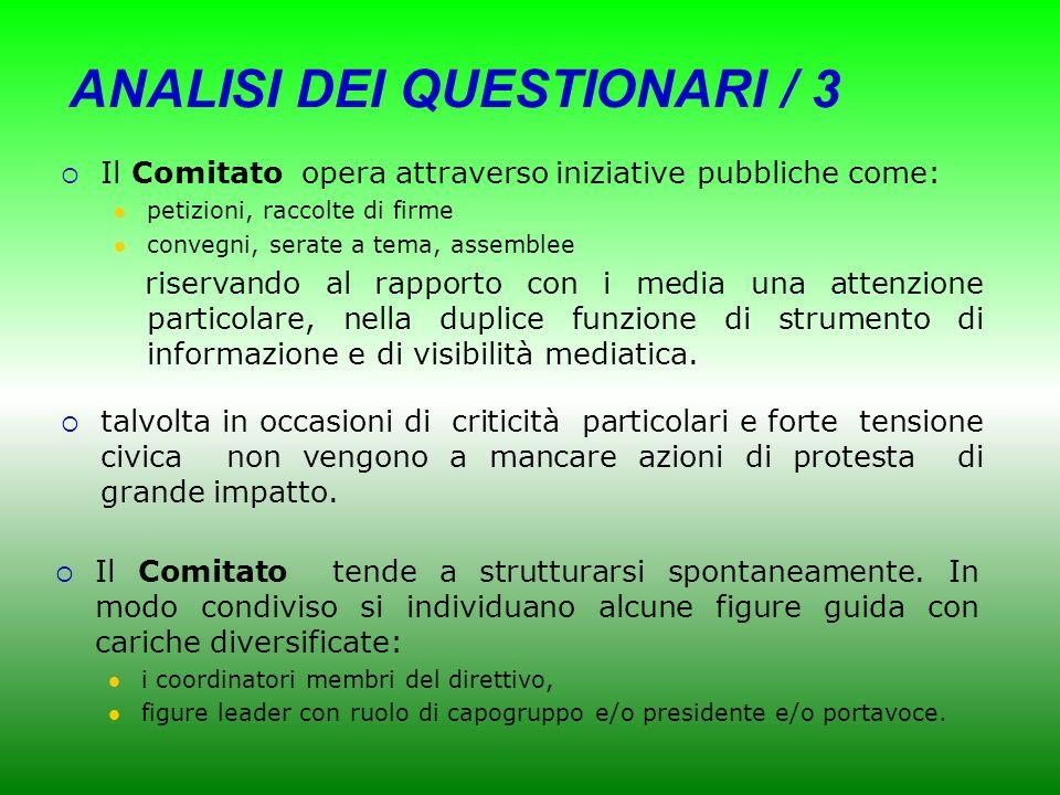 ANALISI DEI QUESTIONARI /2 I Comitati essendo rare volte rappresentati dalle realtà politiche locali individuano i propri interlocutori soprattutto ne