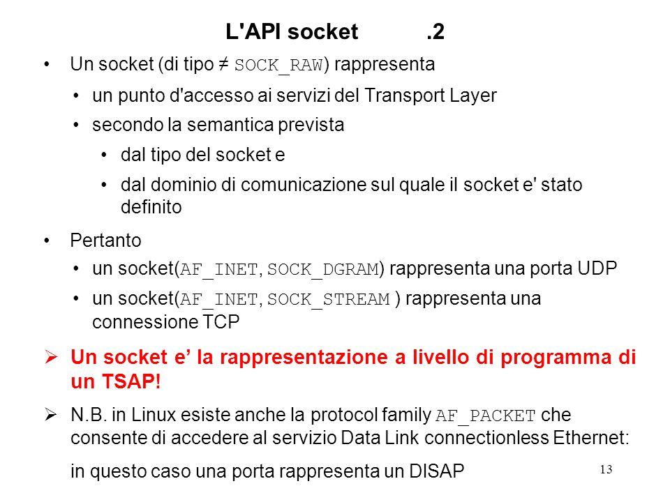 13 L'API socket.2 Un socket (di tipo SOCK_RAW ) rappresenta un punto d'accesso ai servizi del Transport Layer secondo la semantica prevista dal tipo d