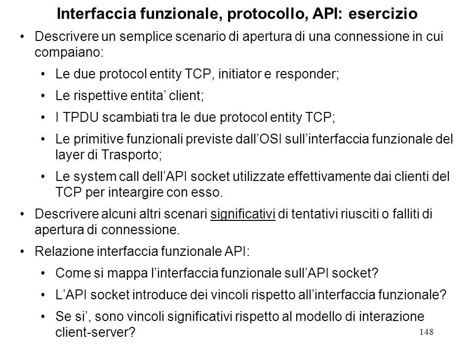 148 Interfaccia funzionale, protocollo, API: esercizio Descrivere un semplice scenario di apertura di una connessione in cui compaiano: Le due protoco