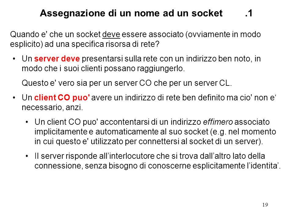 19 Assegnazione di un nome ad un socket.1 Quando e' che un socket deve essere associato (ovviamente in modo esplicito) ad una specifica risorsa di ret