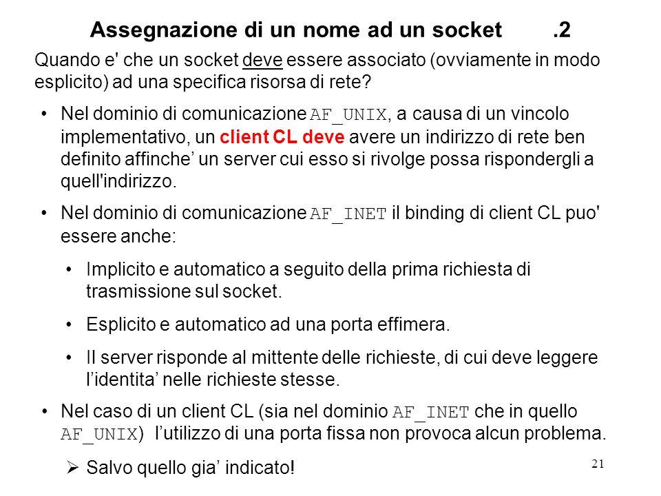 21 Assegnazione di un nome ad un socket.2 Quando e' che un socket deve essere associato (ovviamente in modo esplicito) ad una specifica risorsa di ret