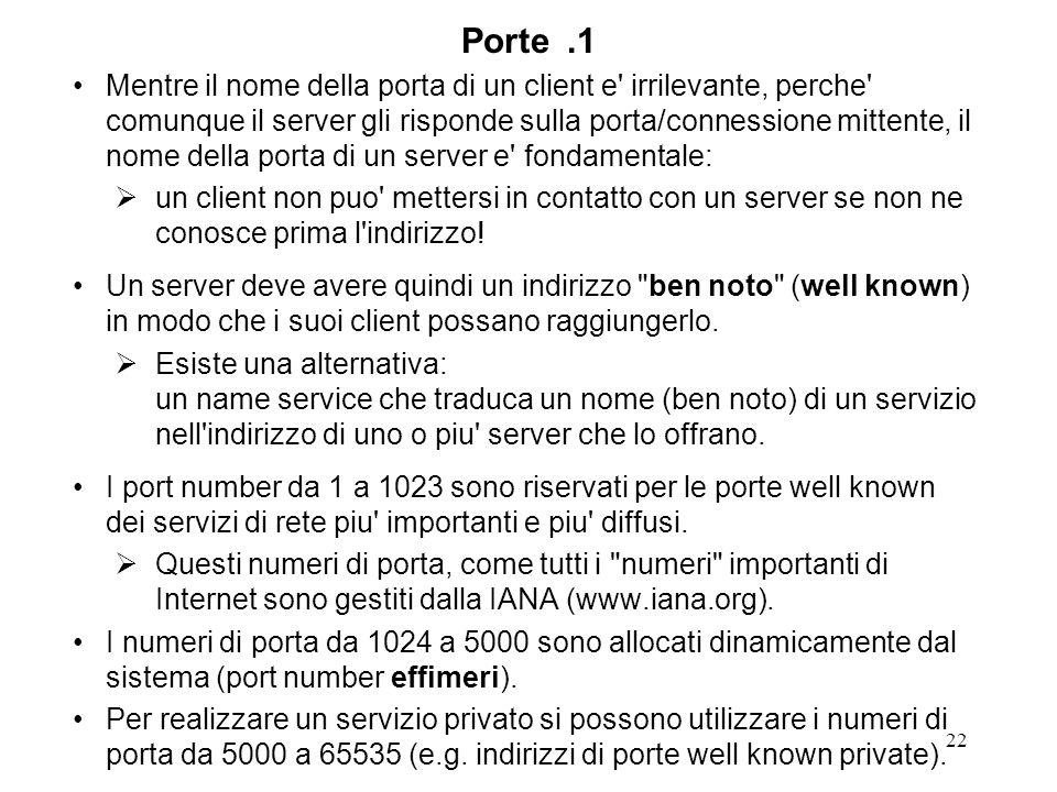 22 Porte.1 Mentre il nome della porta di un client e' irrilevante, perche' comunque il server gli risponde sulla porta/connessione mittente, il nome d
