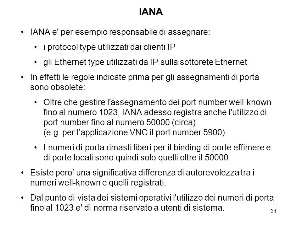 24 IANA IANA e' per esempio responsabile di assegnare: i protocol type utilizzati dai clienti IP gli Ethernet type utilizzati da IP sulla sottorete Et