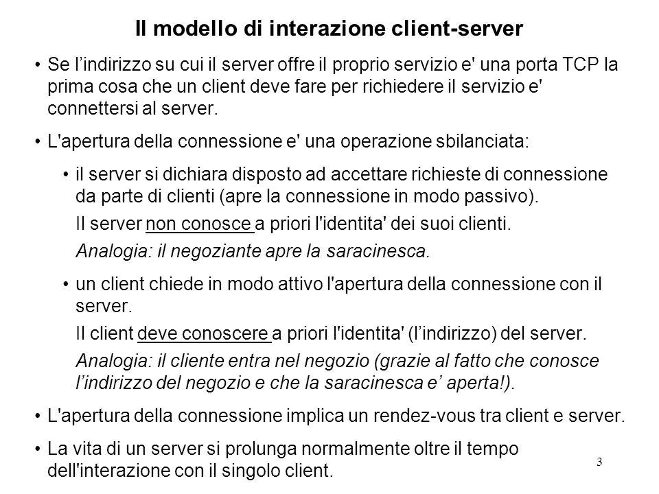 54 Struttura canonica di un server CL sequenziale // trascuriamo la trattazione degli errori int sockfd; sockfd = socket(...); bind(sockfd,...); for (;;) { recvfrom(..., buff,...); doYourJob(buff); // prepara la risposta sendTo(...); } In un contesto CL un socket rappresenta una porta su cui trasmettere e ricevere datagram (messaggi).