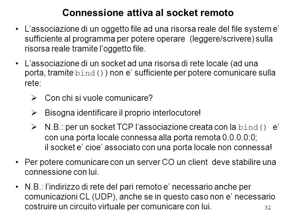 32 Connessione attiva al socket remoto Lassociazione di un oggetto file ad una risorsa reale del file system e sufficiente al programma per potere ope