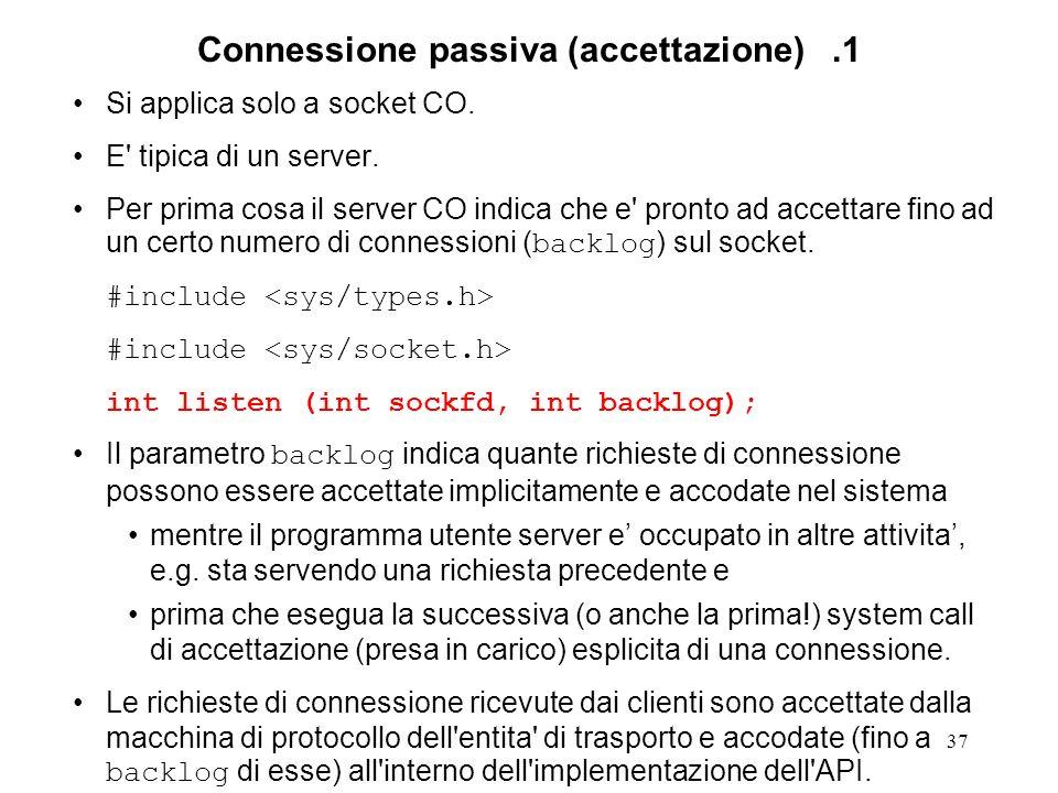 37 Connessione passiva (accettazione).1 Si applica solo a socket CO. E' tipica di un server. Per prima cosa il server CO indica che e' pronto ad accet