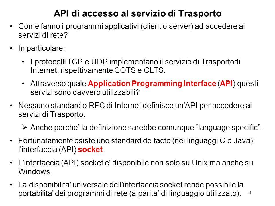 55 Struttura canonica di un client CL // trascuriamo la trattazione degli errori int sockfd; sockfd = socket(...); bind(sockfd,...); // non sempre necessaria: // serve solo nel dominio // AF_UNIX connect(sockfd,...); // non necessaria askForService(sockfd); close(sockfd); exit(0);