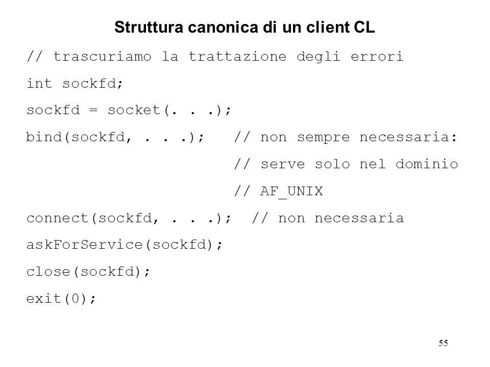 55 Struttura canonica di un client CL // trascuriamo la trattazione degli errori int sockfd; sockfd = socket(...); bind(sockfd,...); // non sempre nec