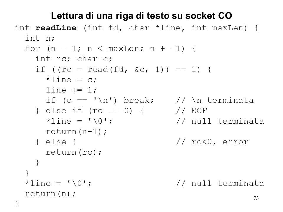 73 Lettura di una riga di testo su socket CO int readLine (int fd, char *line, int maxLen) { int n; for (n = 1; n < maxLen; n += 1) { int rc; char c;