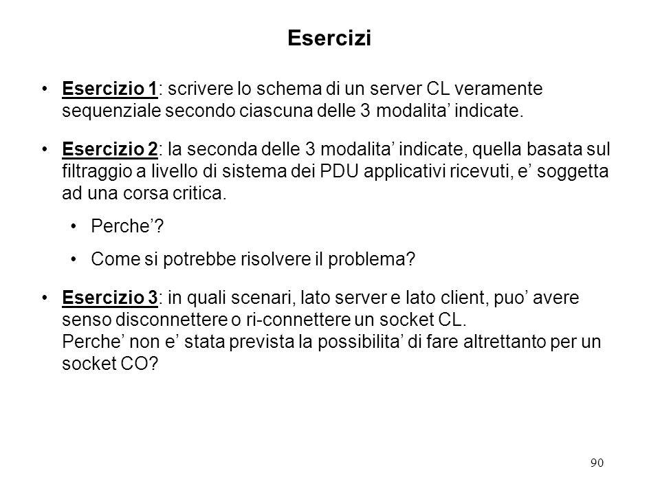 90 Esercizi Esercizio 1: scrivere lo schema di un server CL veramente sequenziale secondo ciascuna delle 3 modalita indicate. Esercizio 2: la seconda