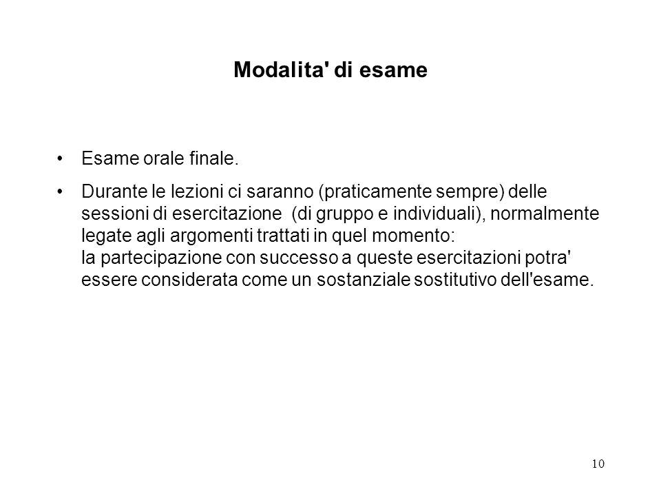 10 Modalita di esame Esame orale finale.