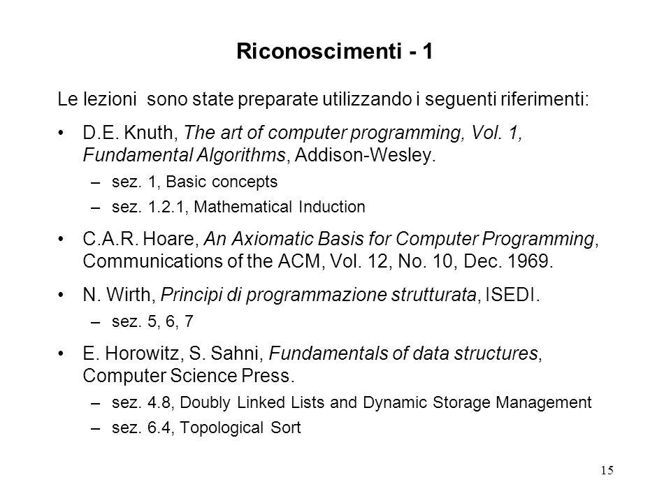 15 Riconoscimenti - 1 Le lezioni sono state preparate utilizzando i seguenti riferimenti: D.E.