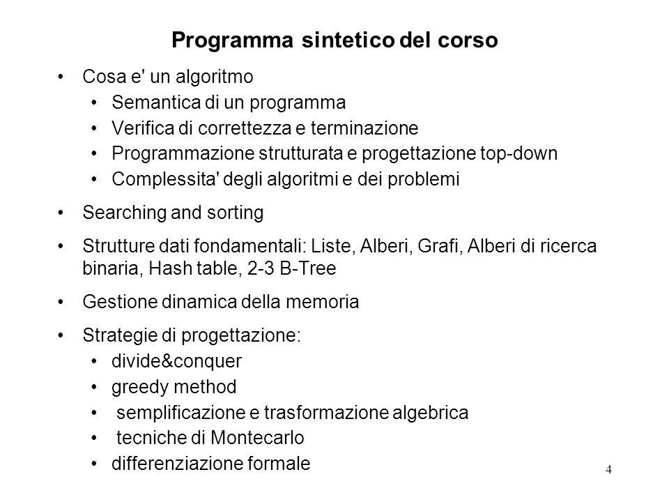 5 Programma del corso1 Introduzione e nozioni preliminari.