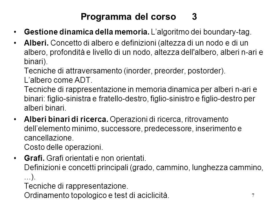 7 Programma del corso3 Gestione dinamica della memoria.