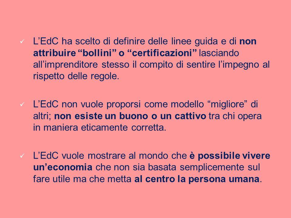 LEdC ha scelto di definire delle linee guida e di non attribuire bollini o certificazioni lasciando allimprenditore stesso il compito di sentire limpe