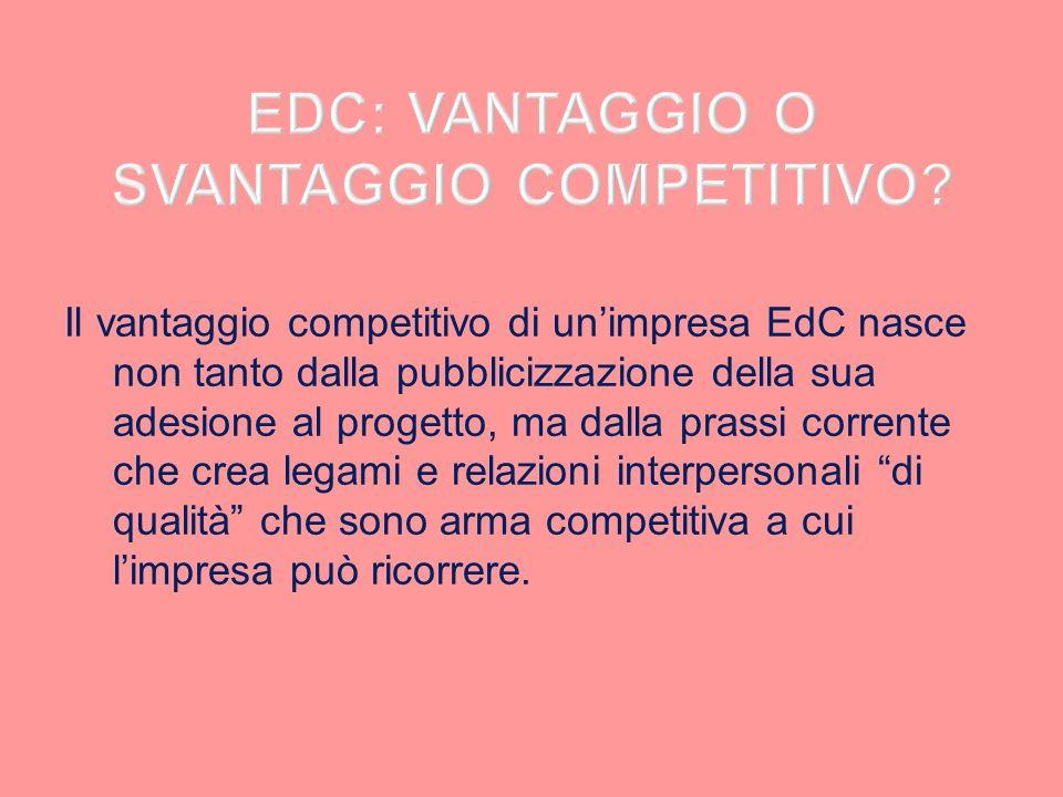 Il vantaggio competitivo di unimpresa EdC nasce non tanto dalla pubblicizzazione della sua adesione al progetto, ma dalla prassi corrente che crea leg