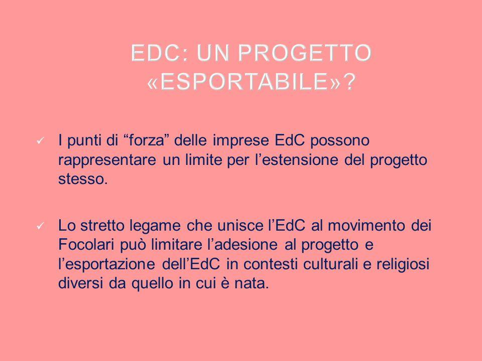 I punti di forza delle imprese EdC possono rappresentare un limite per lestensione del progetto stesso. Lo stretto legame che unisce lEdC al movimento