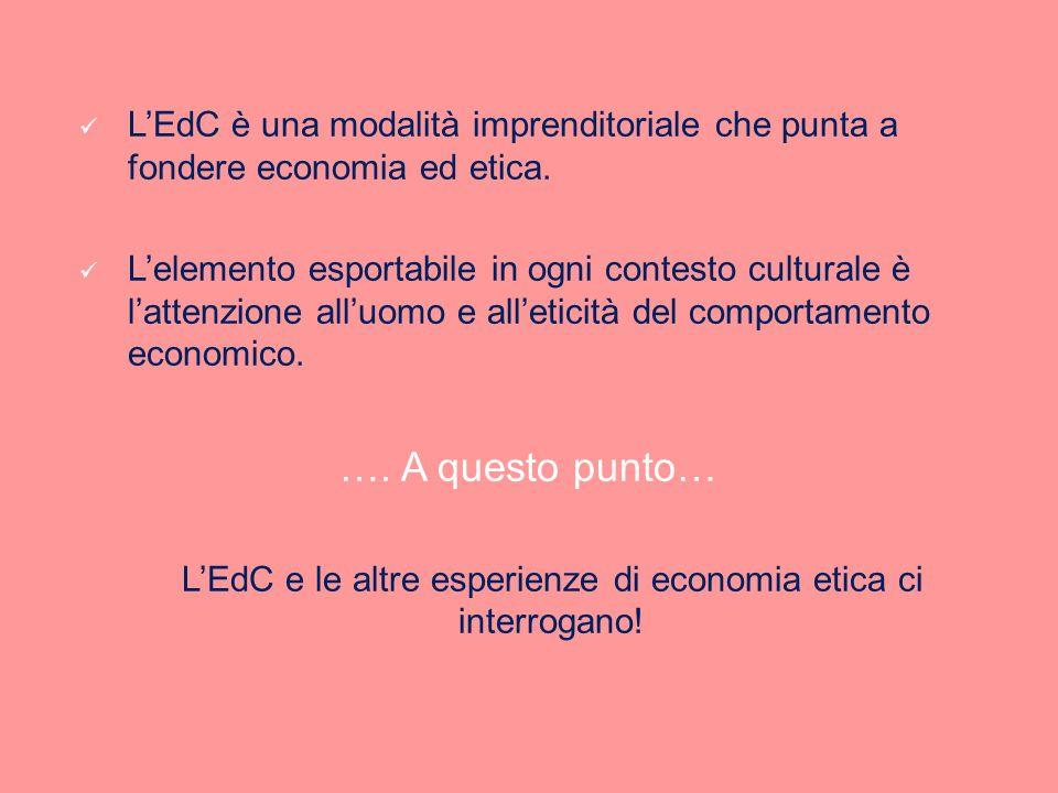 LEdC è una modalità imprenditoriale che punta a fondere economia ed etica. Lelemento esportabile in ogni contesto culturale è lattenzione alluomo e al