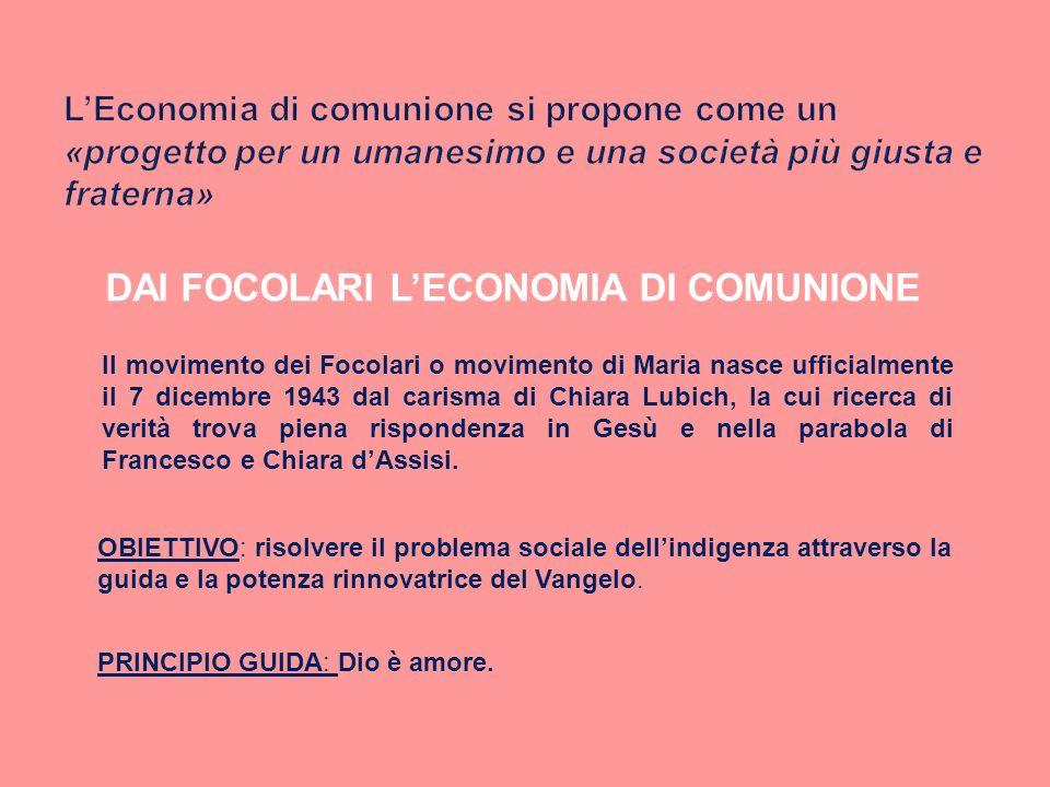 DAI FOCOLARI LECONOMIA DI COMUNIONE Il movimento dei Focolari o movimento di Maria nasce ufficialmente il 7 dicembre 1943 dal carisma di Chiara Lubich