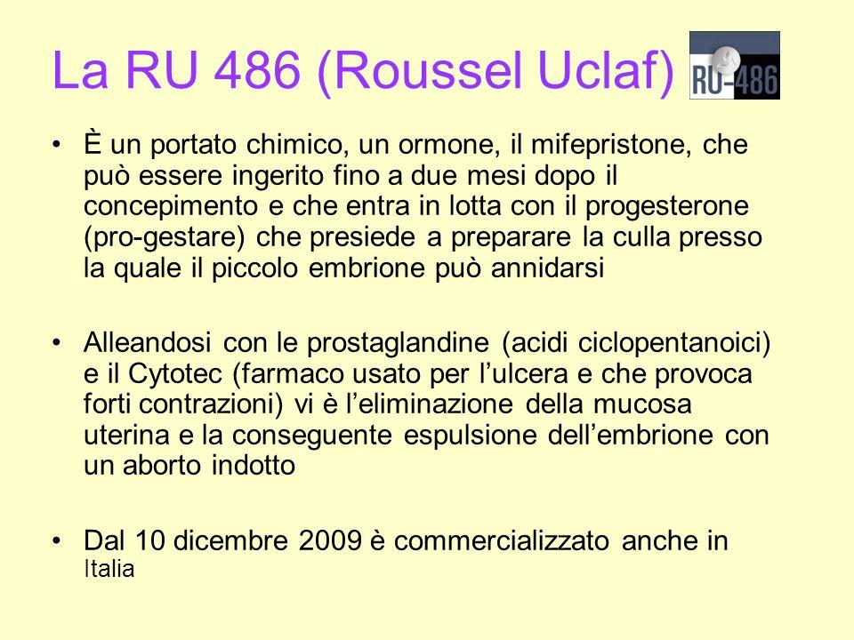La RU 486 (Roussel Uclaf) È un portato chimico, un ormone, il mifepristone, che può essere ingerito fino a due mesi dopo il concepimento e che entra i