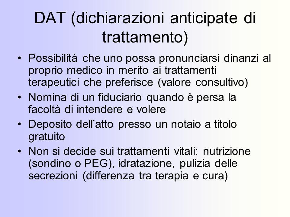 DAT (dichiarazioni anticipate di trattamento) Possibilità che uno possa pronunciarsi dinanzi al proprio medico in merito ai trattamenti terapeutici ch