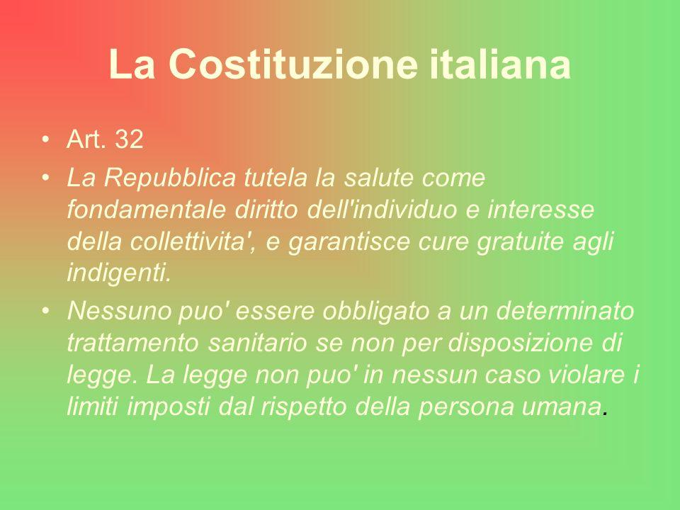 La Costituzione italiana Art. 32 La Repubblica tutela la salute come fondamentale diritto dell'individuo e interesse della collettivita', e garantisce