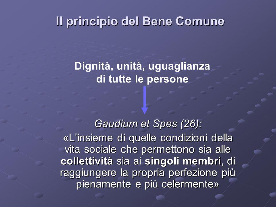 Il principio del Bene Comune Gaudium et Spes (26): «Linsieme di quelle condizioni della vita sociale che permettono sia alle collettività sia ai singoli membri, di raggiungere la propria perfezione più pienamente e più celermente» Dignità, unità, uguaglianza di tutte le persone