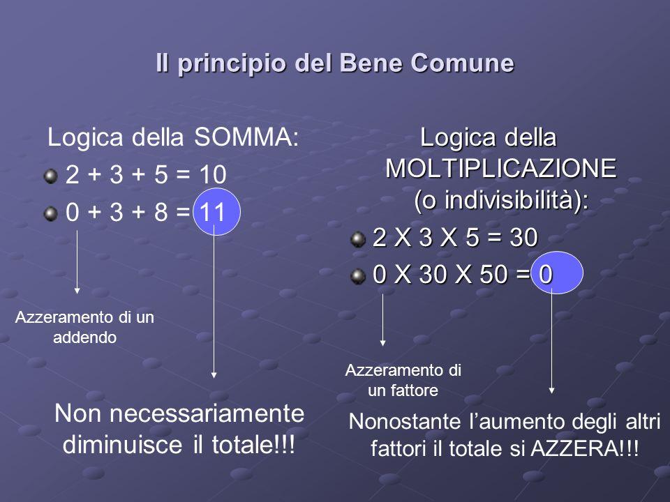 Il principio del Bene Comune Logica della SOMMA: 2 + 3 + 5 = 10 0 + 3 + 8 = 11 Logica della MOLTIPLICAZIONE (o indivisibilità): 2 X 3 X 5 = 30 0 X 30 X 50 = 0 Azzeramento di un addendo Non necessariamente diminuisce il totale!!.