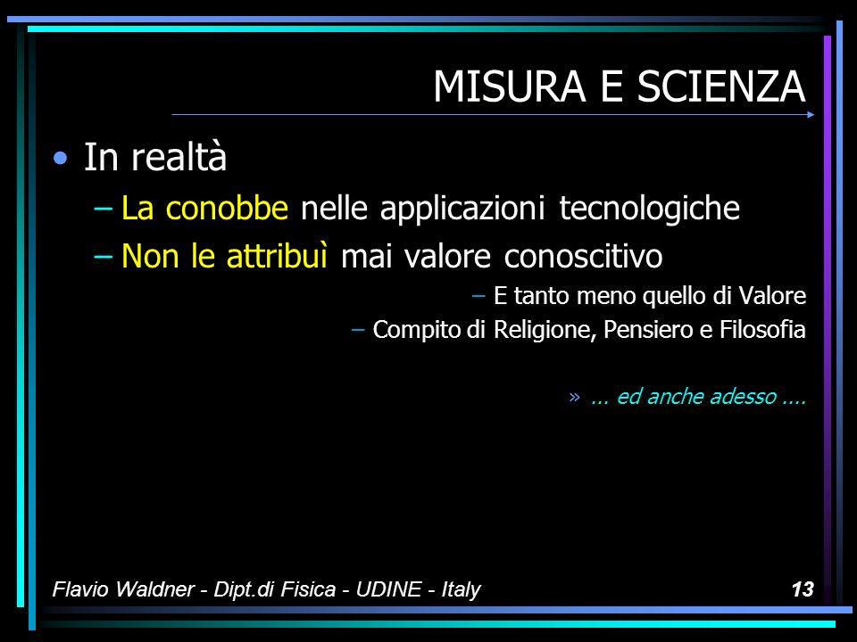 Flavio Waldner - Dipt.di Fisica - UDINE - Italy12 MISURA E SCIENZA IL MONDO ANTICO NON CONOBBE LA MISURA
