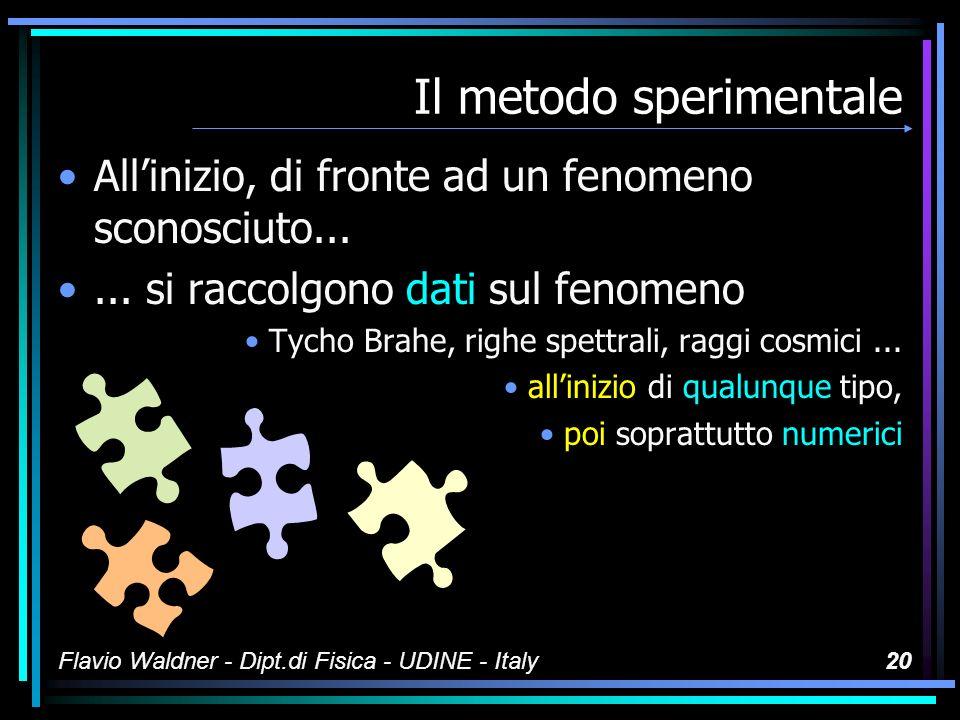 Flavio Waldner - Dipt.di Fisica - UDINE - Italy19 Il metodo sperimentale Vediamo i punti fondamentali della tecnica conoscitiva (es.: gravitazione, spettri atomici)